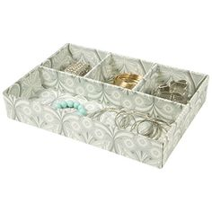 Jewelry Bar with Tray with Ring Holder in Base Blue and White