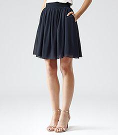 Mason Navy Flared Skirt - REISS