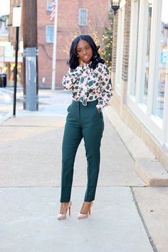 Green: Pussybow Blouse and Tailored Pants