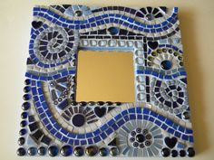 Starry Starry Night Periwinkle Cobalt  Mosaic Mirror - Original Art. $90.00, via Etsy.