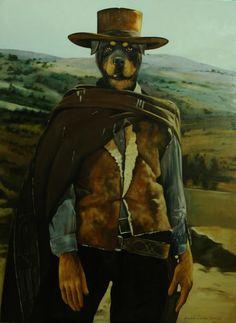 Clint the Rottweiler anthropomorphic cowboy