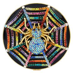 Crystal and Enamel Spider Compact Mirror