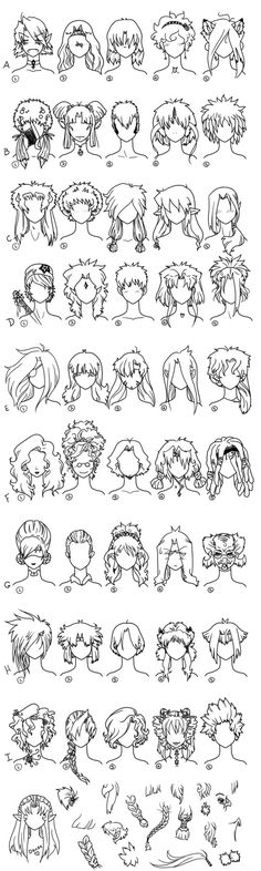 A large chart of hair style ideas for when creating an anime/manga character. There are some very interesting hair styles shown here! (laugh)