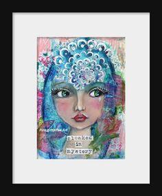 Whimsical Girl Mixed media art Fantasy Art Children's