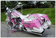 White and Pink Harley Davidson