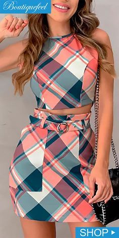 Grid Print Crop Top & Skirt Sets trendiest dresses for any occasions, special event dresses, accessories and women clothing. Crop Top Outfits, Mode Outfits, Casual Outfits, Trend Fashion, Womens Fashion, Fashion Usa, Fashion Sets, Latest Fashion, Two Piece Dress