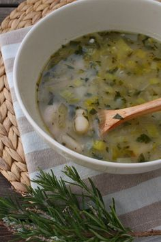 Rustic Leek and White Bean Soup with Rosemary