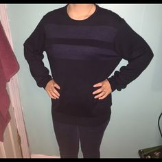 NWT Calvin Klein oversize sweater New with tags! Navy blue with stripes along the front. Perfect oversize sweater! I usually wear size small so could fit either size small medium or large! Looks great with jeans and leggings with boots or sperries! Such a great deal! Make me offers Calvin Klein Sweaters Crew & Scoop Necks