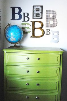 I just really like the letters on the wall ...5 green white eclectic kids room childs bedroom boys girls unisex wall letters -A in diff pinks?