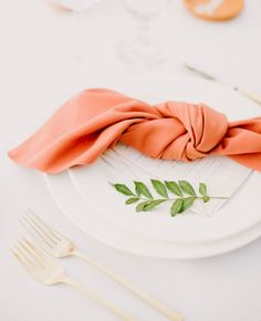 Peach knotted napkin. Table decor inspiration for a peach wedding.