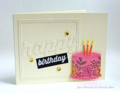 It's time for some cake and a party time celebration! Thanks for stopping by - Jean Okimoto here this evening. Don't save the new Stitched Happy Holiday Square Frame for winter cards...use it for celebrations throughout the year. The