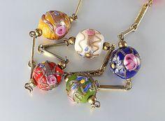 Vintage Murano Venetian glass Necklace, wedding cake beads