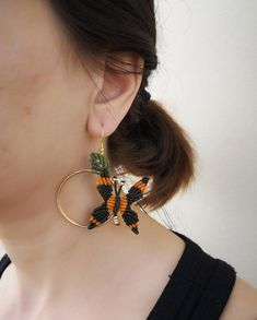 Butterfly Hoop Earrings Macrame Butterfly Earrings | Etsy Macrame Earrings, Macrame Jewelry, Macrame Bracelets, Etsy Earrings, Crochet Earrings, Hoop Earrings, Butterfly Earrings, Handmade Jewelry, Unique Jewelry