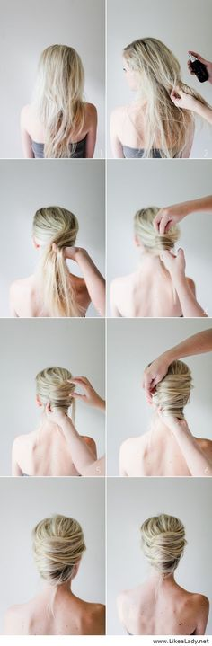 Messy French Twist Tutorial - if only it were this easy to do to yourself.