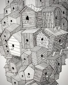 A closeup of one of my favourite pieces, the Birdhouse Medley. A fitting home for all of my birds. #illustration #illustrations #lineart #drawing #linedrawing #linework #fineliner #inkonpaper #sketch #scribble #doodle #penwork #deko #dekoration #kinfolk #kinfolklife #cerealmag #analoguelife #instagramde #flowmagazine #loveobjects #lüneburg #hamburg #niedersachsen #elledecor #birdhouse #vogelhaus