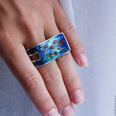 """Кольцо """"Мелодия Грузии"""" на два пальца серебряное с эмалью. Минанкари"""