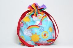 **Made to Order Item!** Perfect little bag for your knitting!  This handmade drawstring bag is made from 100% cotton fabric and is fully