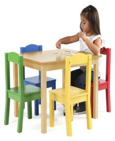 e42142b3f5c Kids Wood Table and 4 Chairs Set - Tan Beige