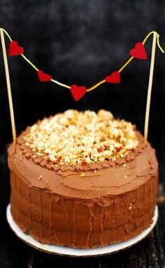 Chocolate Cake With Nutella Icing And Hazelnut Praline