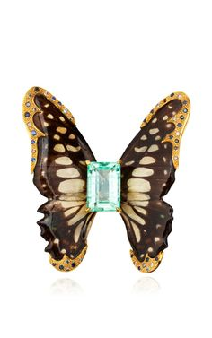 One Of A Kind Emerald And Sapphire Butterfly Brooch by Sylvie Corbelin