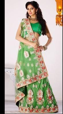 Charming Aloe Vera Green Embroidered Saree