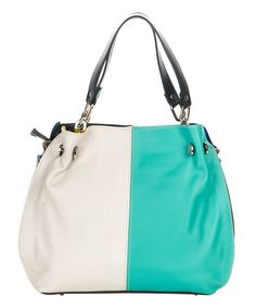 Loving this White & Light Blue Zip Leather Hobo on #zulily! #zulilyfinds