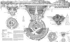 Self-contained city concept, Novanoah II. Paolo Soleri. Arcology: City in the Image of Man. 1970.