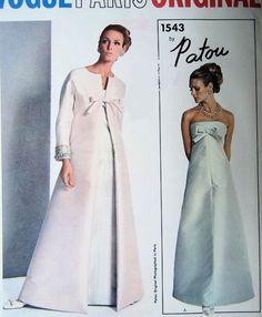 1960s LOVELY PATOU STRAPLESS EVENING DRESS GOWN, COAT PATTERN VOGUE PARIS ORIGINAL 1543