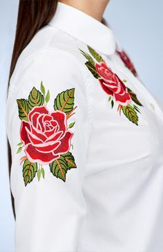 My Carmele Roses Blouse — Bora Bohème Rose Shirts, Ethical Fashion, Bomber Jacket, Roses, The Incredibles, Blouse, Cotton, Jackets, Beauty