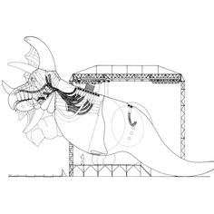 MARK FISHER  INFLATABLE DINOSAUR PROJECT, SECTION THROUGH GANTRY AND BEAST, 1978