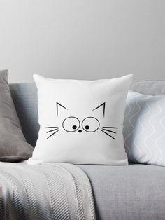 Pillow Cartoon Illustration - - - Crochet Pillow Triangle - Vintage Boho Pillow - Pillow With Words Design Pillow Mat, Cat Pillow, Pillow Room, Baby Pillows, Throw Pillows, Pillow Crafts, Pillow Texture, Animal Pillows, Fabric Painting