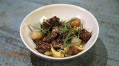 Red Wine Braised Beef over Egg Noodles Recipe | The Chew - ABC.com