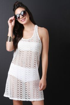 Sheer Crochet Lace Shift Dress
