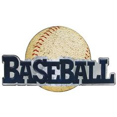 """Let your wall sing of your love for the game with this Metal Baseball Die Cut Sign. With a single hook on the back, hanging this sign is easy. Embossed letters in dark blue and a decorativebaseball in the background will let everyone will know that you are a true fan.        Dimensions:      Length: 6 3/4""""    Width: 11 3/4"""""""