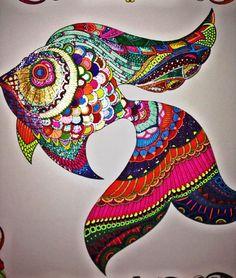 """i'm lovin' it! #lostocean #adultcoloringbook #johannabasford #fishy #artsy @johannabasford"""