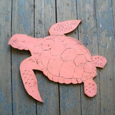 Sea Turtle Wooden Sign Swimming Ocean Coral. $73.00, via Etsy.