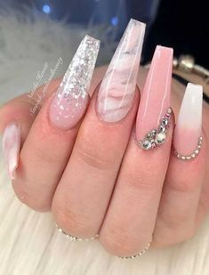 Marble Nail Art Designs To Try This Spring & Summer - Allerecipe Acrylic Nails Coffin Pink, Long Square Acrylic Nails, Pink Acrylics, Summer Acrylic Nails, Coffin Nails, Nail Pink, Acrylic Art, Summer Nails, Cute Acrylic Nail Designs