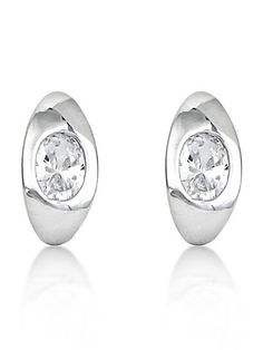 18K White Gold Plated Cz Diamond Simplistic Earring For Women.
