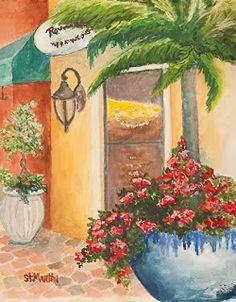 "Annie St Martin Fine Art-Florida Coffee Shop Painting,Coastal Landscape ""Coffee Anyone?"" by Florida Impressionism Artist Annie St Martin"