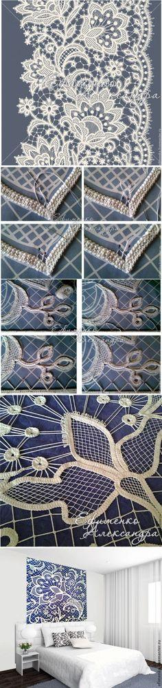 Мастер-класс: изголовье кровати в техники вязания крючком и вышивки - Ярмарка Мастеров - ручная работа, handmade