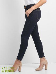 Gap Women s Mid Rise Curvy True Skinny Jeans (Dark) Rinsed Denim e15d7fc6d8b