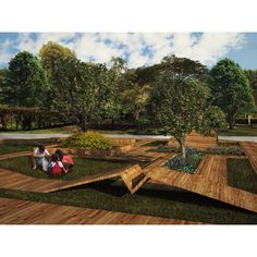 #Render  #plaza #architecture #nature #wood