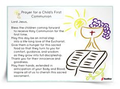 Prayer for a Child's First Communion Prayer Card