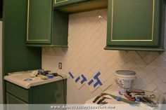How To Install A Herringbone Subway Tile Backsplash. www.tilebythemile.com for more subway tile in many different sizes.