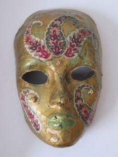 Mask  Venetian Mardi Gras Carnivale Style Paper Mache  by chimchim, $45.00