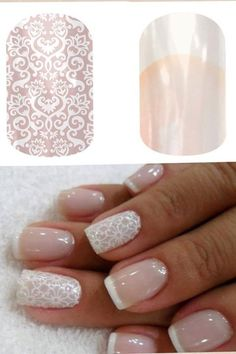 Jamberry Nail Wraps in French Tips Lace! Order yours today at http://nailsbymekeyc.jamberrynails.net/