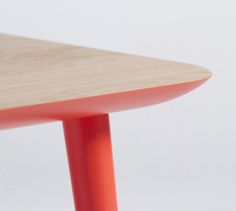 Details we like / Orange Accent Color / Wood / Table / Contrast / Leg / at https://www.behance.net/mukalab