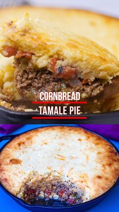 This Easy Tamale Pie Recipe is a classic dish that is essentially beef chili with a buttery, homemade cornbread casserole topping. This old school dish is definitely a family favorite. Easy Pie Recipes, Mexican Food Recipes, Cooking Recipes, Tamale Pie Recipes, Hamburger Recipes, Budget Recipes, Mexican Dishes, Recipes Dinner, Beef Recipes
