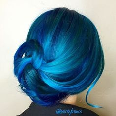 Gorgeous blue hair color design by @Franco Hernandez Hair painting updo upstyle messy updo www.hotonbeauty.com
