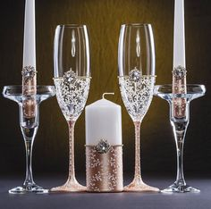 Rose Gold Wedding Glasses Rose Gold Unity Candles Rose Gold